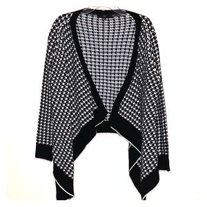 Houndstooth draped cardigan sweater one size